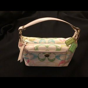Small white Coach bag with pastel logo